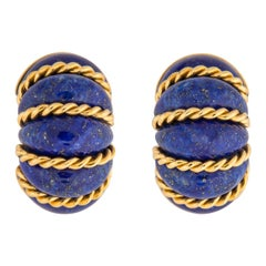 Seaman Schepps Lapis and Gold Shrimp Earrings