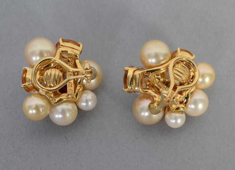 Contemporary Seaman Schepps Large Bubble Pearl, Citrine and Diamond Earrings For Sale
