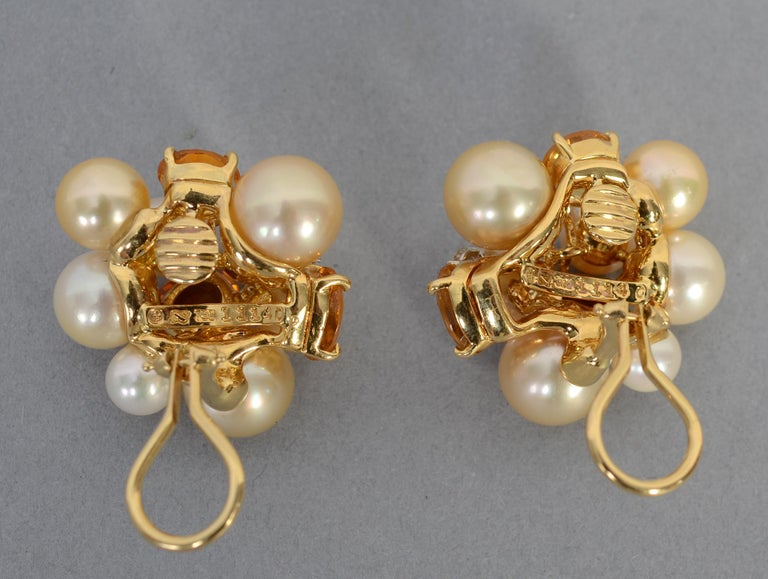Seaman Schepps Large Bubble Pearl, Citrine and Diamond Earrings In Excellent Condition For Sale In Darnestown, MD