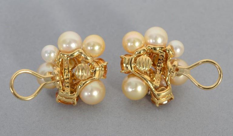 Women's or Men's Seaman Schepps Large Bubble Pearl, Citrine and Diamond Earrings For Sale