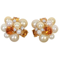 Seaman Schepps Large Bubble Pearl, Citrine and Diamond Earrings