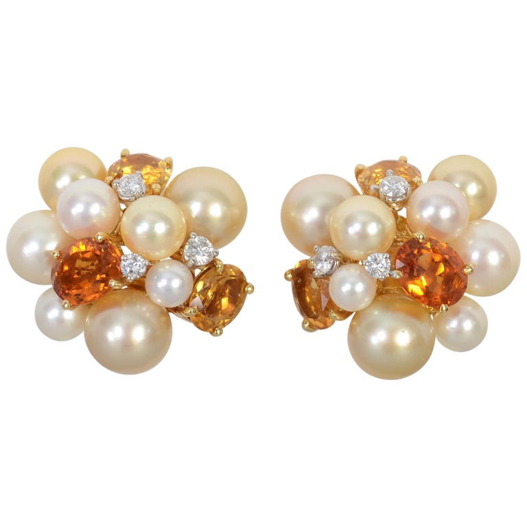 Seaman Schepps Large Bubble Pearl, Citrine and Diamond Earrings For Sale