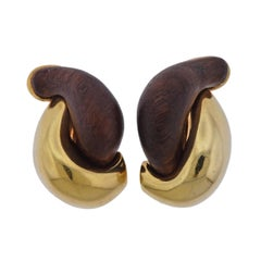Seaman Schepps Large Half Link Wood Gold Earrings