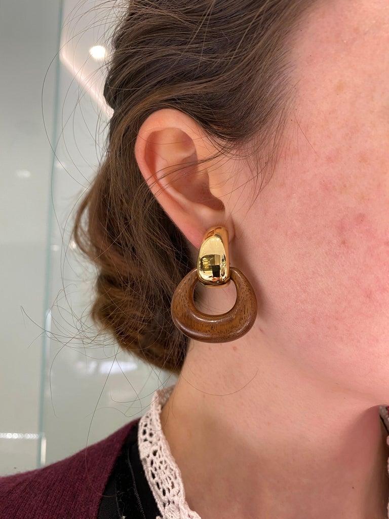 Seaman Schepps Madison Buckle Drops 18 Karat Gold and Walnut Wood Earrings 2