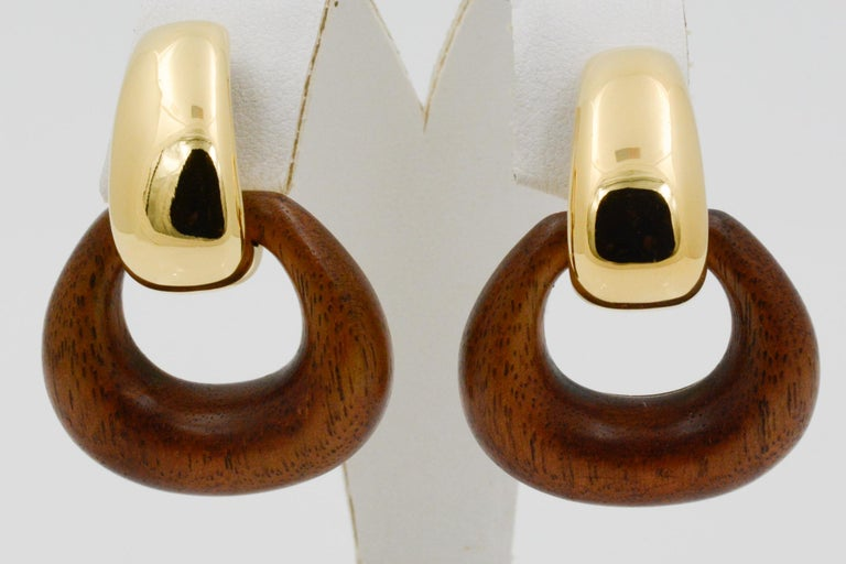 Modern Seaman Schepps Madison Buckle Drops 18 Karat Gold and Walnut Wood Earrings