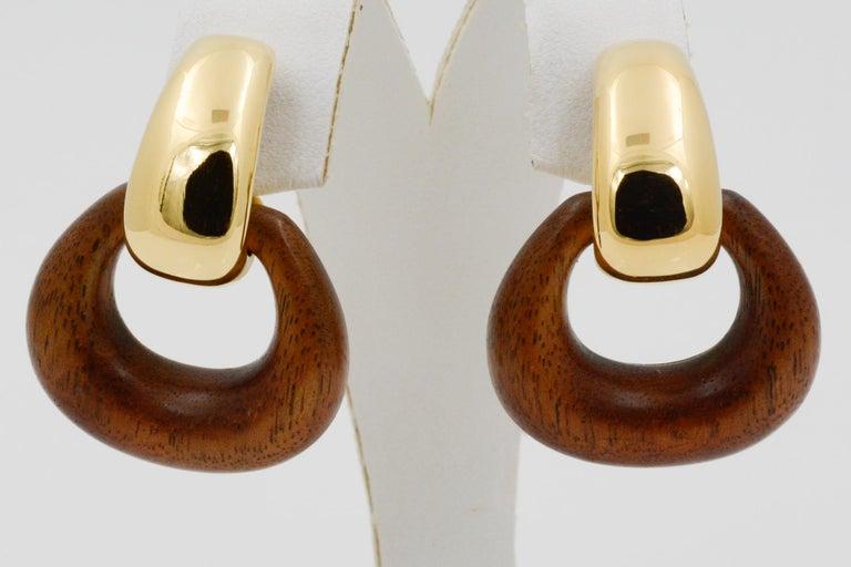 Women's or Men's Seaman Schepps Madison Buckle Drops 18 Karat Gold and Walnut Wood Earrings
