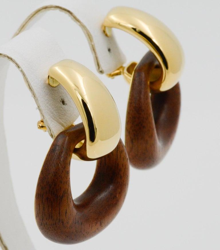 Seaman Schepps Madison Buckle Drops 18 Karat Gold and Walnut Wood Earrings 1