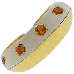 Seaman Schepps Mammoth Tusk Citrine Gold Cuff Bracelet