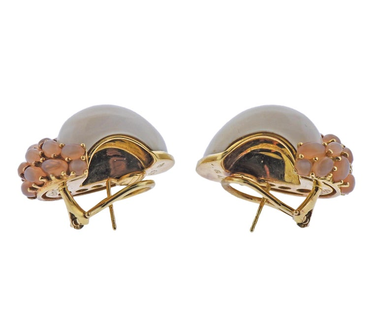 Cabochon Seaman Schepps Mammoth Tusk Peach Moonstone Gold Link Earrings For Sale