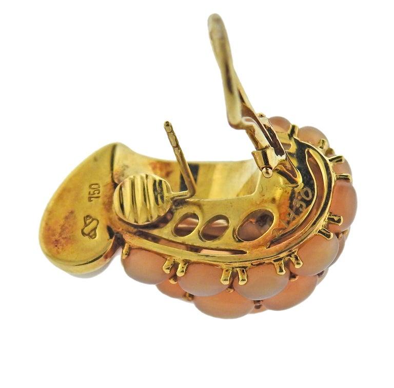 Women's Seaman Schepps Mammoth Tusk Peach Moonstone Gold Link Earrings For Sale