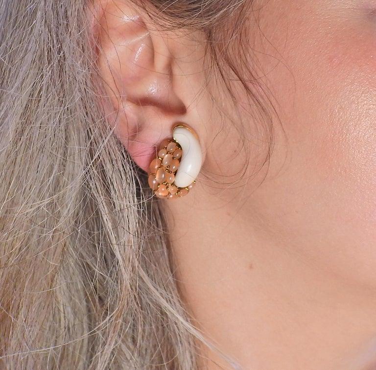 Seaman Schepps Mammoth Tusk Peach Moonstone Gold Link Earrings For Sale 1