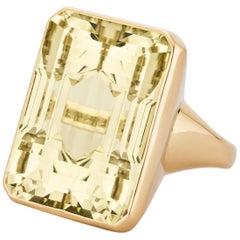Seaman Schepps Midcentury 40 Carat Emerald Cut Citrine Gold Ring