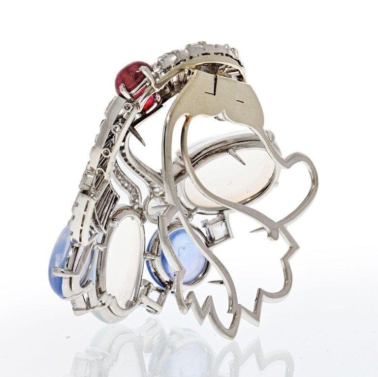 Modern Seaman Schepps Moonstones & Diamond Brooch For Sale