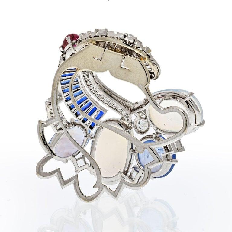 Cabochon Seaman Schepps Moonstones & Diamond Brooch For Sale
