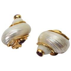 Seaman Schepps Mother of Pearl Shell Ruby Earrings