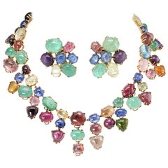 Seaman Schepps Multi-Color Cabochon Gemstone Earrings and Necklace Set