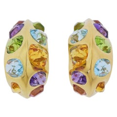 Seaman Schepps Multi Color Gemstone Gold Hoop Earrings