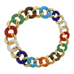 Seaman Schepps Multi-Color Gemstone Gold Link Necklace