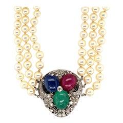 Seaman Schepps Multi-Colored Stone Pearl Necklace