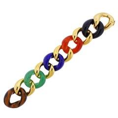 Seaman Schepps Multi Gemstone Gold Link Bracelet