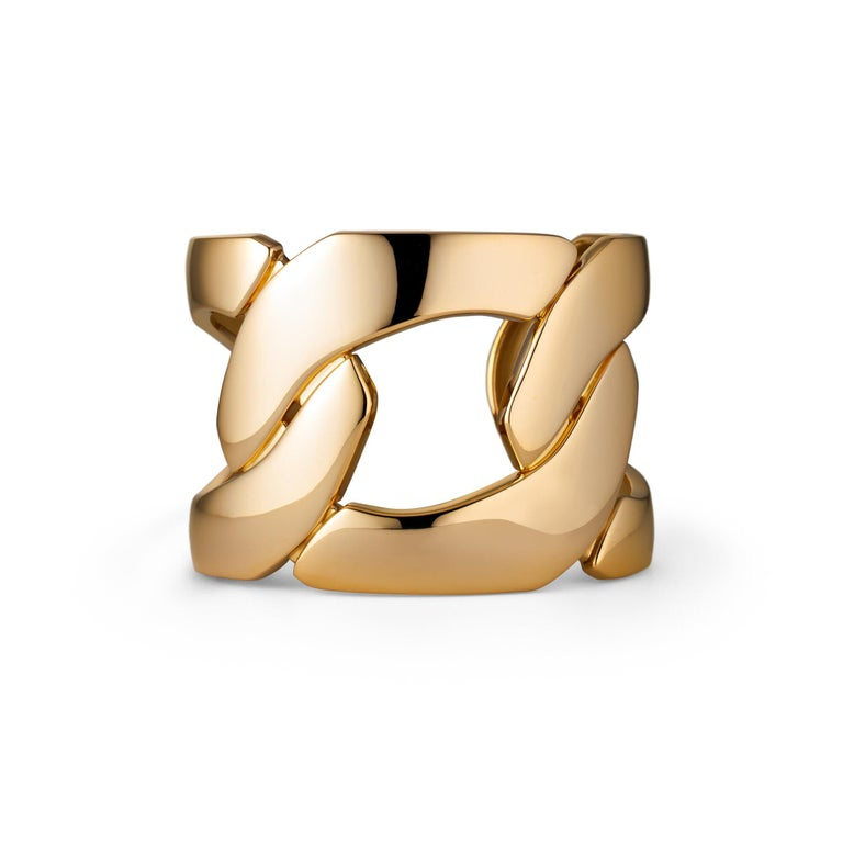 Contemporary Seaman Schepps Oversized Gold Three-Link Cuff For Sale
