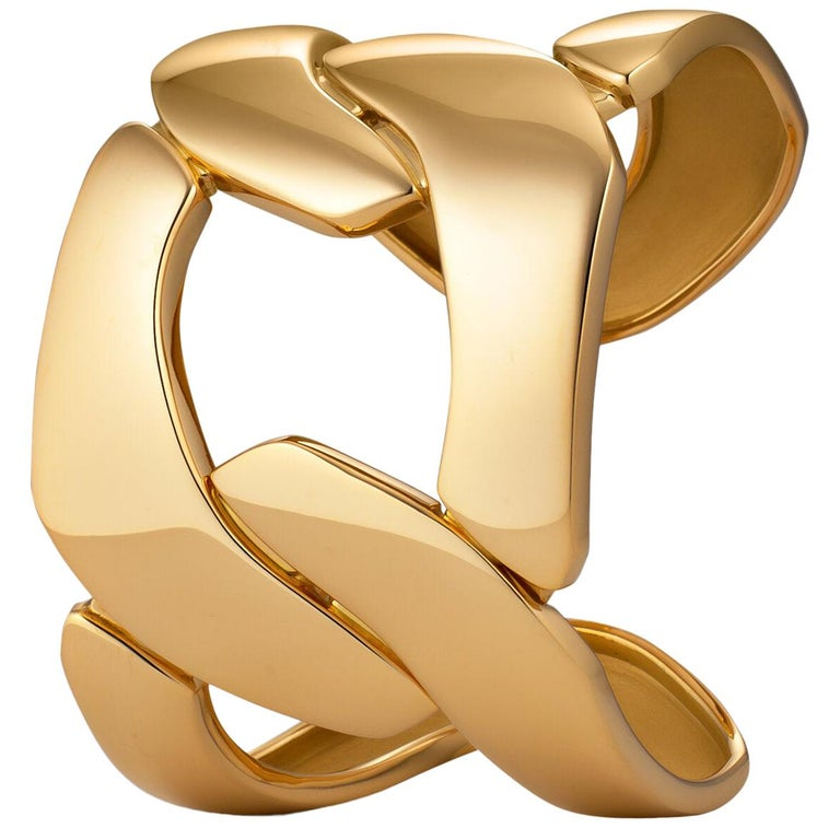 Seaman Schepps Oversized Gold Three-Link Cuff For Sale