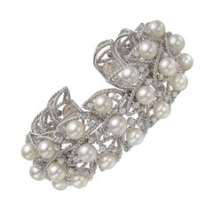 Seaman Schepps Pearl and Diamond Foliate Cuff Bracelet