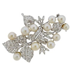 Seaman Schepps Platinum Diamond Pearl Brooch Pin