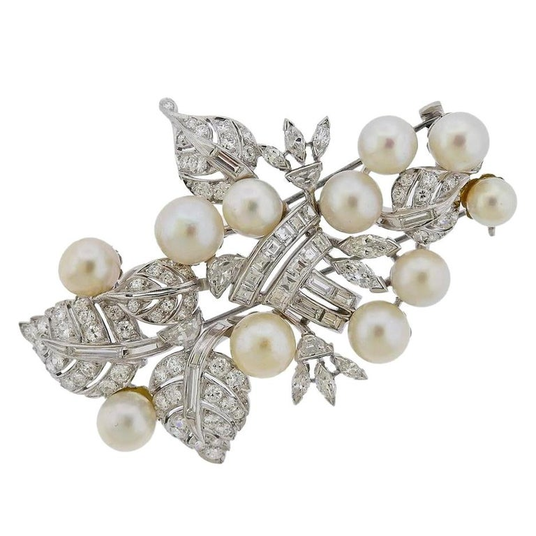 Seaman Schepps Platinum Diamond Pearl Brooch Pin For Sale