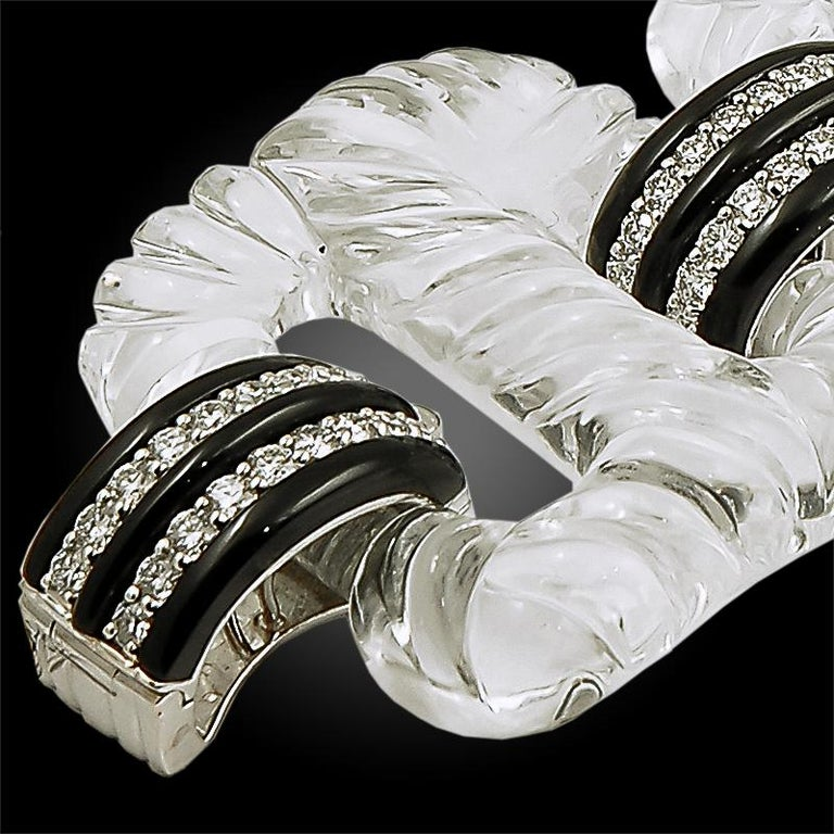 Seaman Schepps Rock Crystal Diamond Bracelet In Excellent Condition For Sale In New York, NY