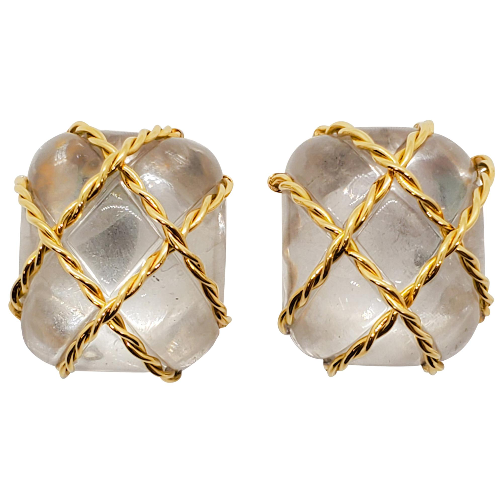 Seaman Schepps Rock Crystal Earrings in 18 Karat Yellow Gold