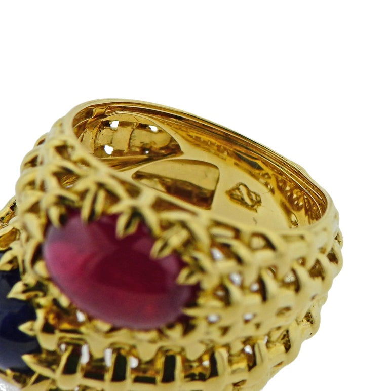 Women's Seaman Schepps Ruby Sapphire Gold Ring For Sale