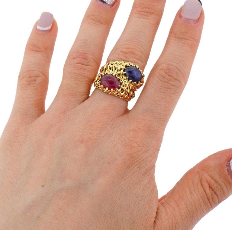 Seaman Schepps Ruby Sapphire Gold Ring For Sale 1