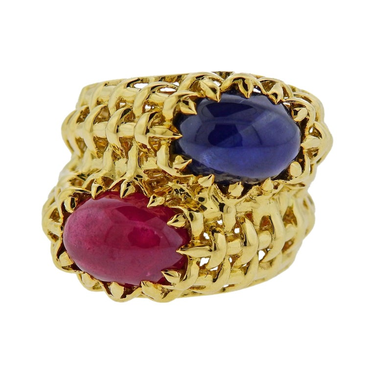 Seaman Schepps Ruby Sapphire Gold Ring For Sale