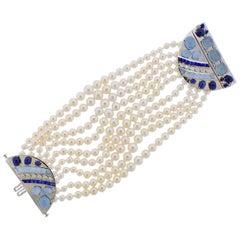 Seaman Schepps Sapphire Aquamarine Diamond Pearl Gold Bracelet