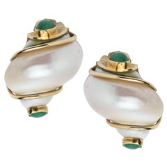Seaman Schepps Shell and Emerald Earrings