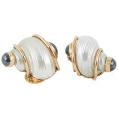 Seaman Schepps Shell Gold Earclips
