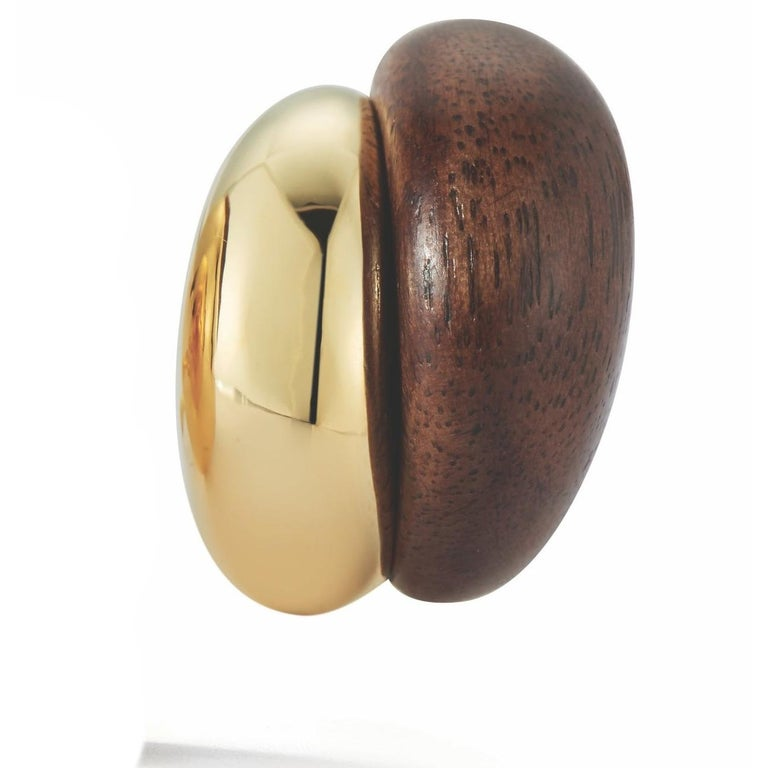 Women's or Men's Seaman Schepps Silhouette Wood Gold Earrings For Sale