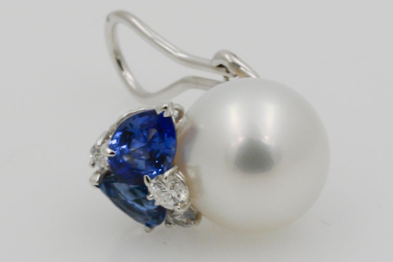Modern Seaman Schepps South Sea Pearl Blue Sapphire and Diamon Deuaville Earrings For Sale