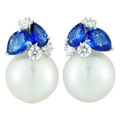 Seaman Schepps South Sea Pearl Blue Sapphire and Diamon Deuaville Earrings