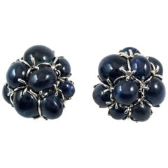 Seaman Schepps Star Sapphire 18 Karat White Gold Bubble Ear Clips