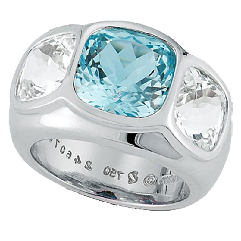 Seaman Schepps Three-Stone Blue and White Topaz Mogul 18 Karat White Gold Ring