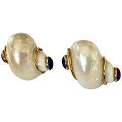 Seaman Schepps Turbo Shell and Lapis Lazuli Gold Earrings