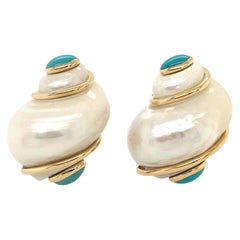 Seaman Schepps Turbo Shell and Turquoise Earrings