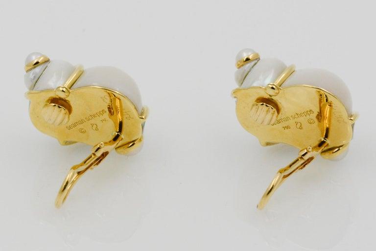 Women's Seaman Schepps Turbo Shell Pearl and 18 Karat Yellow Gold Earrings For Sale
