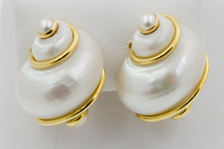Seaman Schepps Turbo Shell Pearl and 18 Karat Yellow Gold Earrings For Sale 1