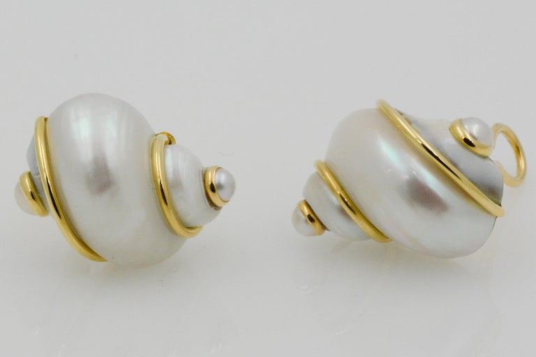 Seaman Schepps Turbo Shell Pearl and 18 Karat Yellow Gold Earrings For Sale 2
