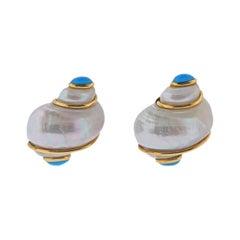 Seaman Schepps Turbo Shell Turquoise Gold Earrings