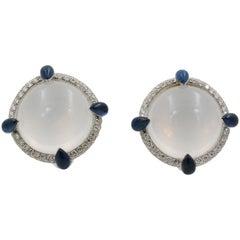 Seaman Schepps White Quartz Sapphire and Diamond 18 Karat White Gold Earrings