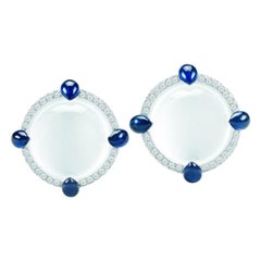 Seaman Schepps White Quartz Sapphire and Diamond 18 Karat White Gold Earrings